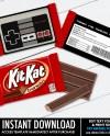 Nes Kit Kat Candy Bar Label Wrapper Video Game Party Favor Etsy