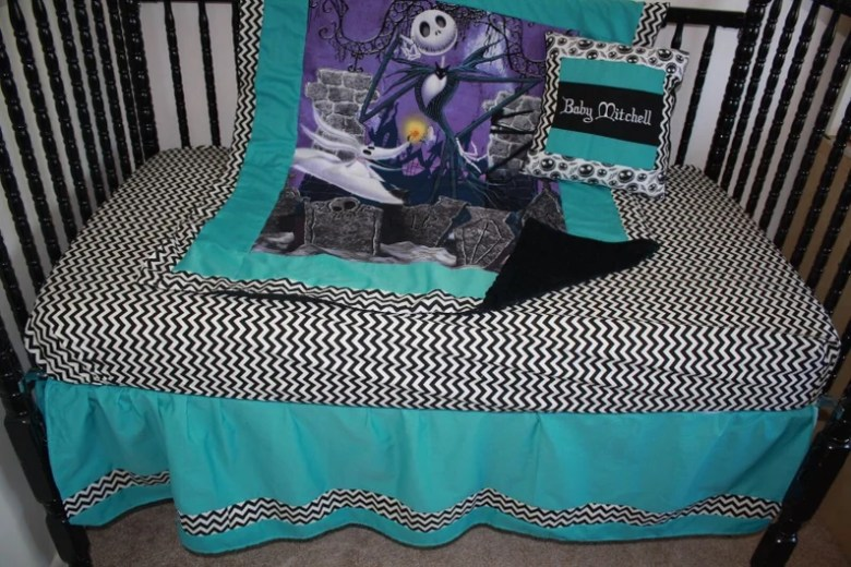 Teal Nightmare Before Christmas Baby Bedding