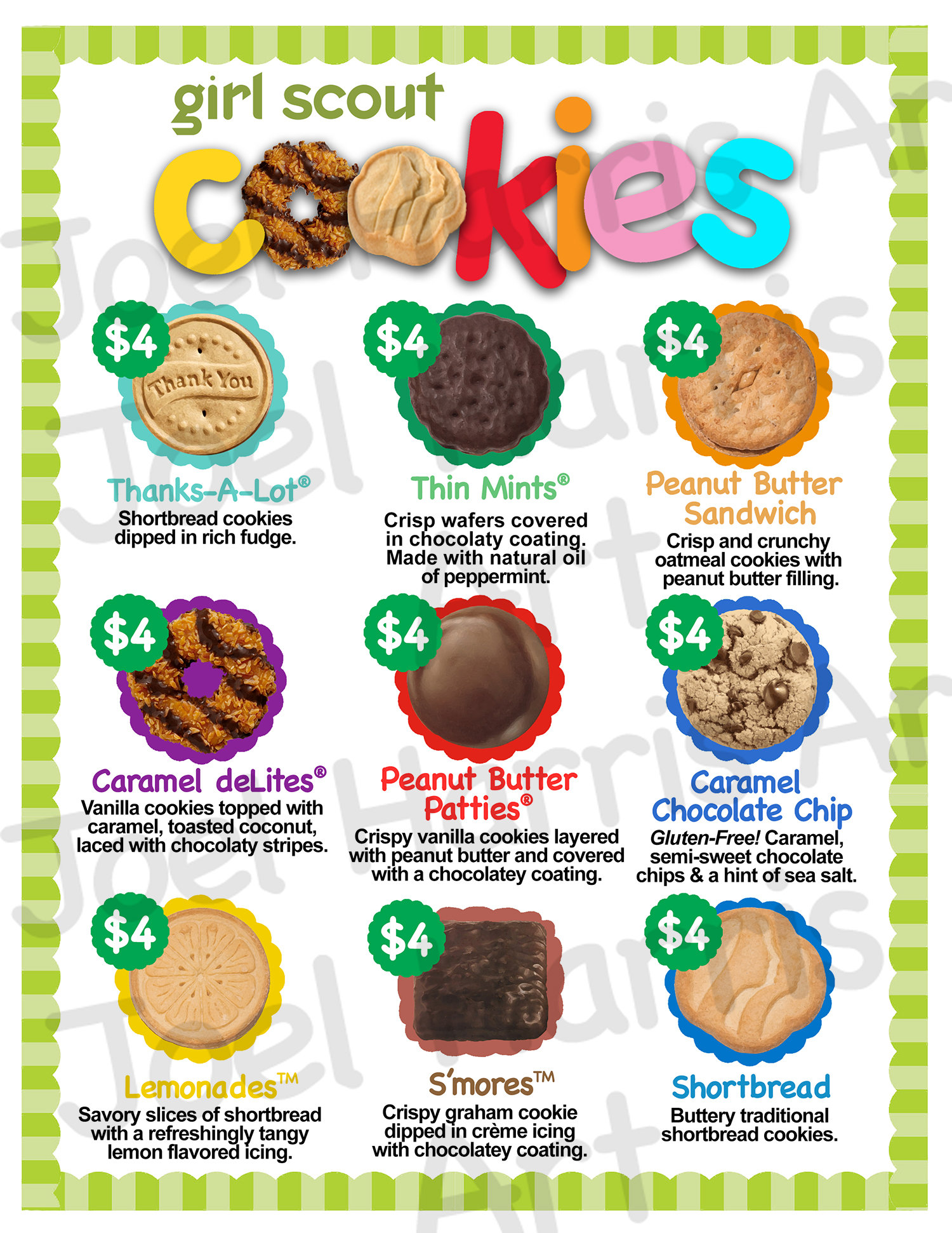 Abc Girl Scout Cookie Price List Gs Booth Menu 8 5 X