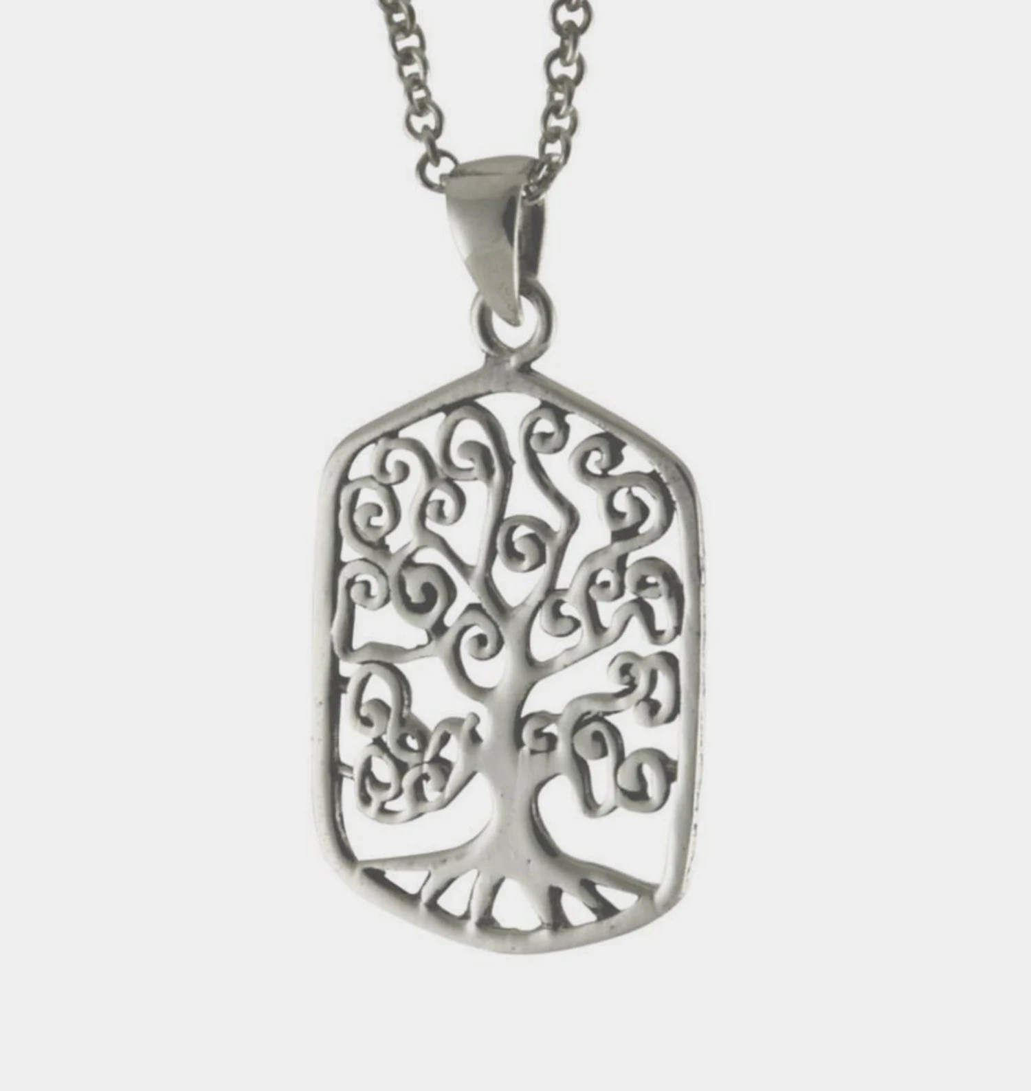 Elegant Tree Of Life Pendant On 18 Or 24 Silver Plated