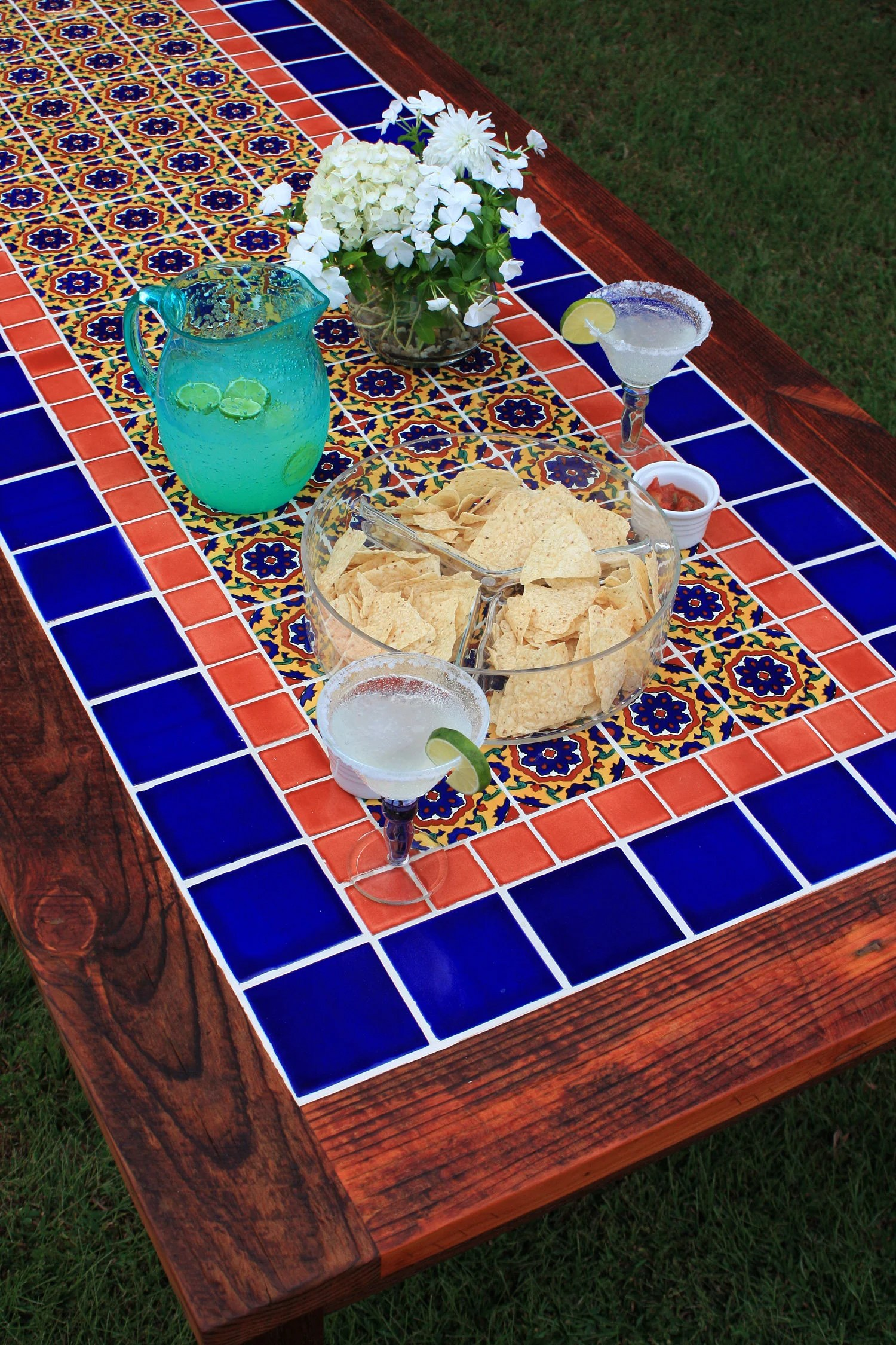 talavera tile dining table very large dining table mexican etsy