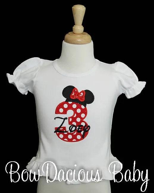 Minnie Mouse Birthday Number Shirt Minnie Birthday Shirt Etsy