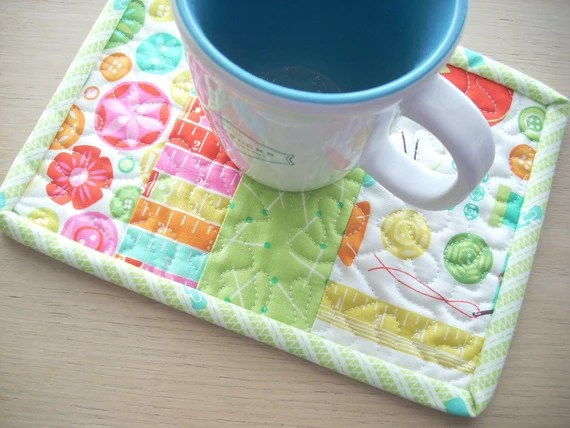 sewing box mug rug - FREE SHIPPING