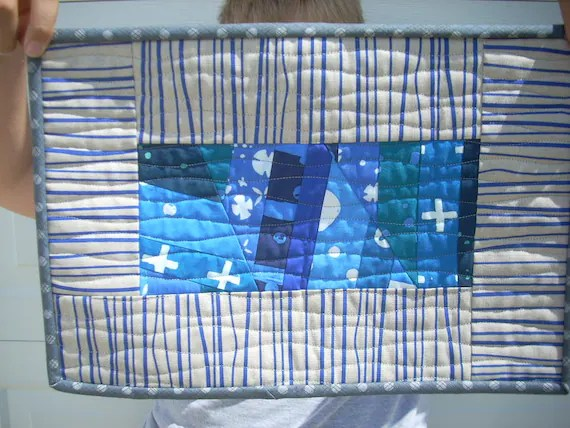 Alison Glass indigo mini quilt placemat - FREE SHIPPING
