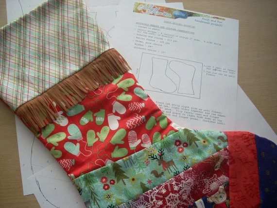 strip quilted stocking pattern - FREE SHIPPING