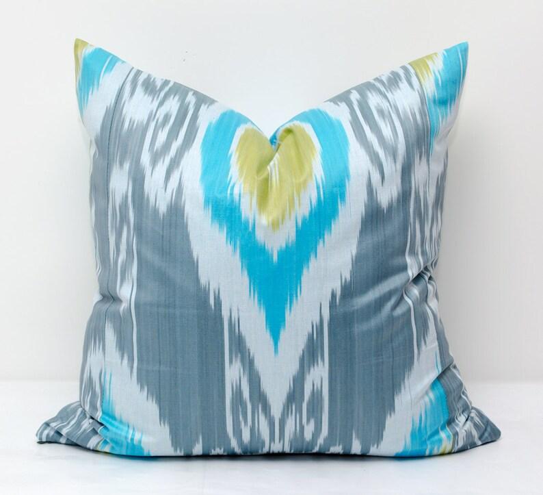 ikat design ikat throw pillow turquoise