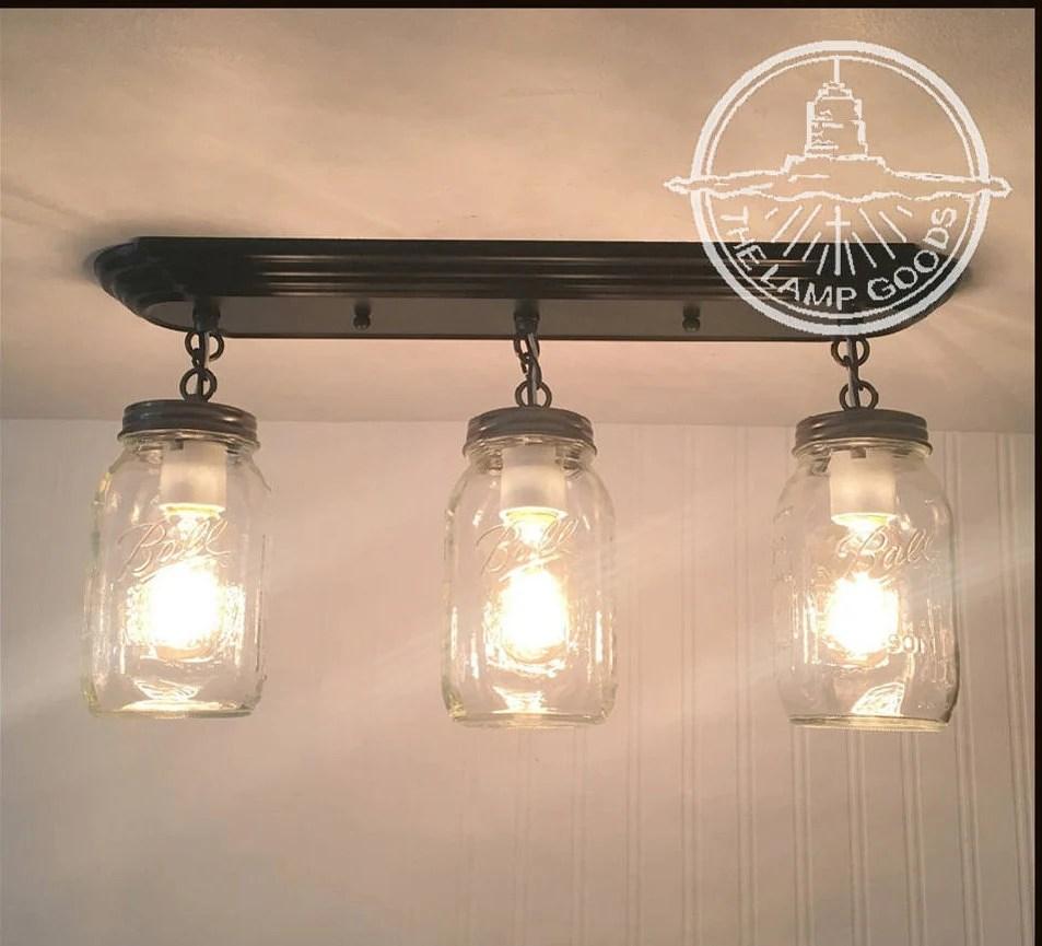 mason jar light rectangular trio with new quarts flush mount etsy