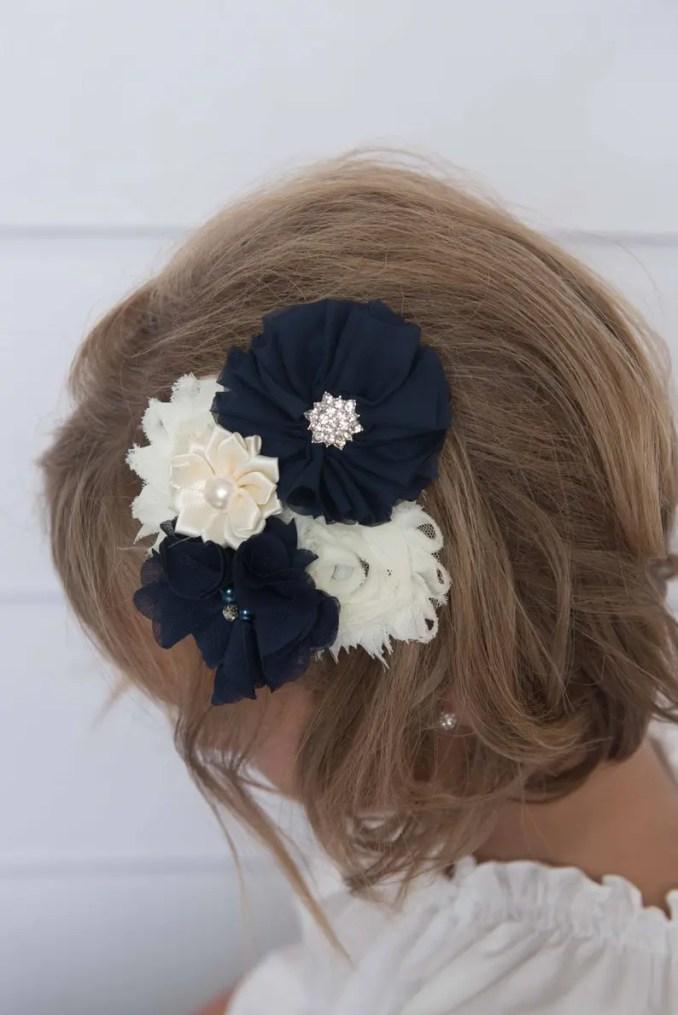 navy hair clip, ivory hair clip, ivory hair clip, bridal veil, wedding hair  accessory, flower hair clip, flower girl clip, navy flower clip