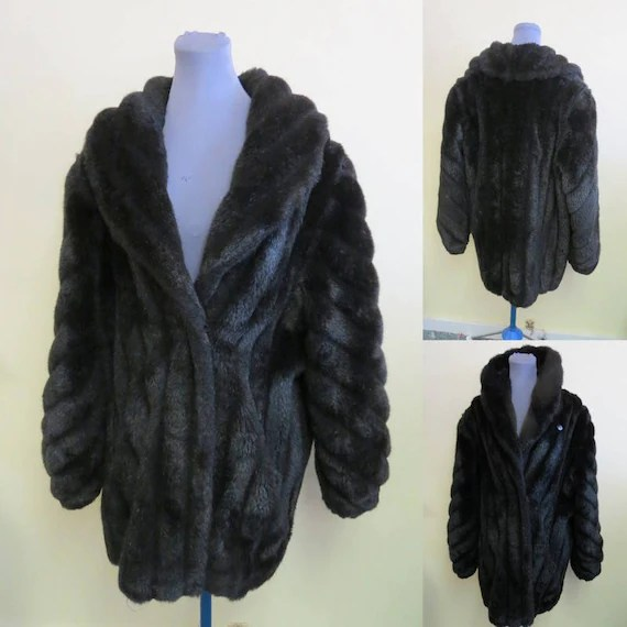 Beautiful Vintage Monterey Fashions Ladies faux Fur Black   Etsy image 0
