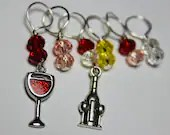 Wine Stitch Markers...