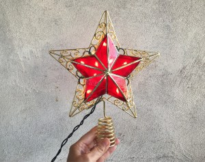 Vintage Tree Topper Star Lighted Capiz Star Tree Topper For Christmas Red Star Electric Treetopper