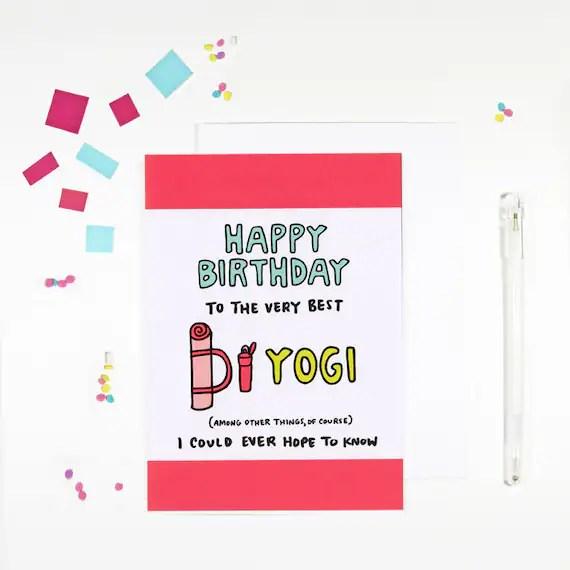 Happy Birthday Yogi Yoga Birthday Card For Yoga Lovers Etsy