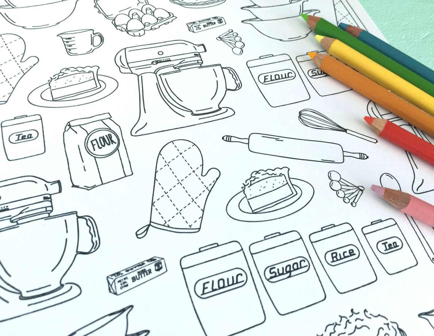Printable Baking Coloring Page Digital File Instant