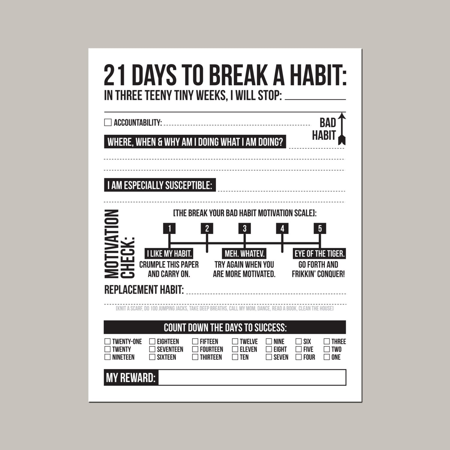 21 Days To Break A Bad Habit Printable Sheet