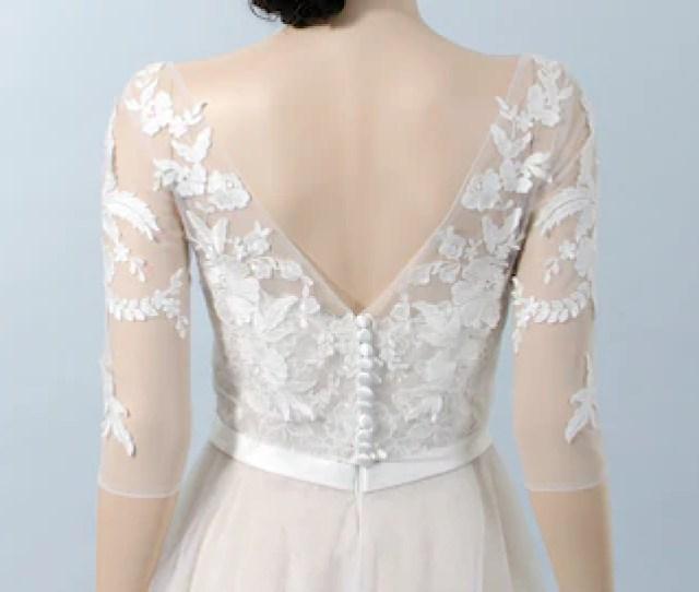 Boat Neck Lace Bolero With V Back   Length Sleeves Bridal Bolero Wedding Bolero Wedding Jacket Lace Shrug Bridal Jacket Bridal Lace Top