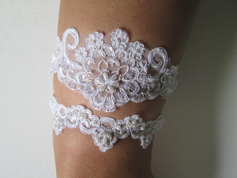 White Lace Wedding Garter Set White Alencon Pearls & Lace