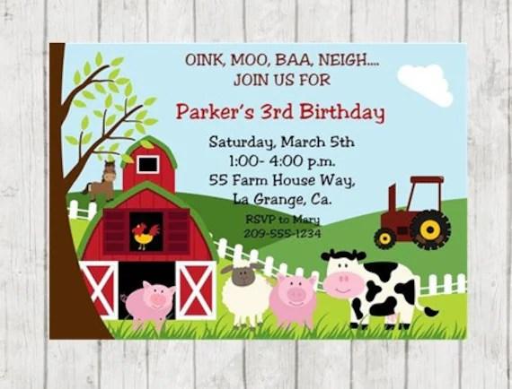 farm birthday party invitation farm