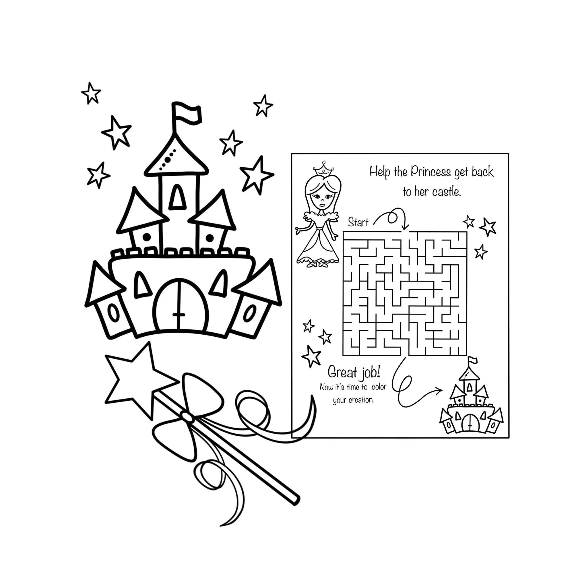 Instant Download Fairy Tale Coloring Activity Kit