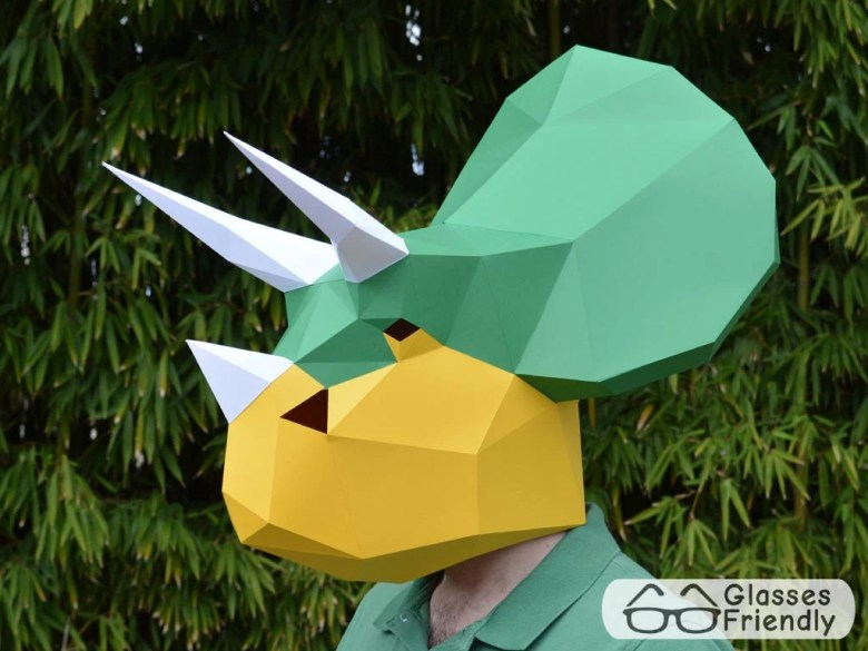 dinosaur mask: triceratops great dinosaur birthday fun | etsy