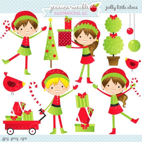 Jolly Little Elves Cute Christmas Digital Clipart