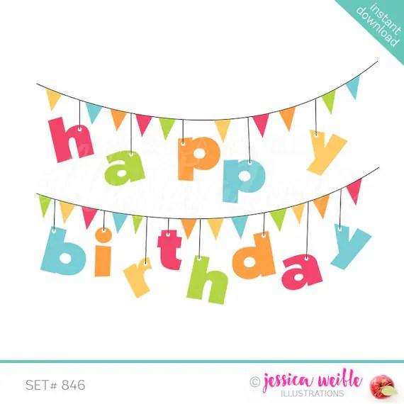 Happy Birthday Banner Cute Digital Clipart Birthday Clip Art Etsy