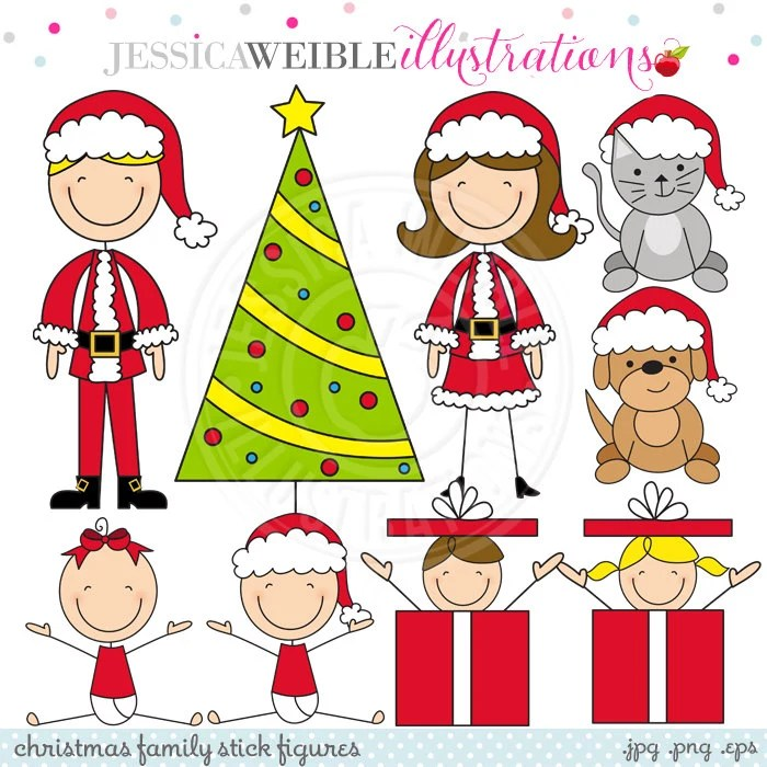 Christmas Family Stick Figures Cute Digital Clipart For