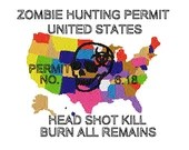 Zombie hunting permit digital embroidery design, Zombie hunting permit digitized embroidery design