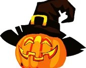 Spooky pumpkin digital embroidery design, Pumpkin digitized embroidery design