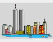 Twin towers embroidery design, Twin towers digitized embroidery design