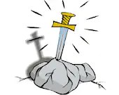 Sword in stone digital embroidery design