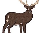 Buck deer digital embroidery design, Buck deer digitized embroidery design