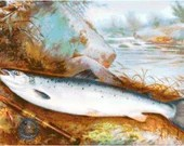 Trout on a bank with flyrod cross stitch pattern pdf