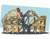 Roller coaster digital embroidery design, Roller coaster digitized embroidery design