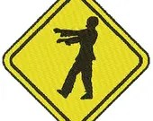 Zombie crossing digital embroidery design, Zombie crossing digitized embroidery design