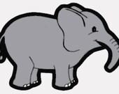 Baby elephant digital embroidery design, Elephant digitized embroidery design