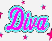 Diva embroidery design, Diva digitized embroidery design