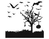Halloween spooky bats scene silhouette digital embroidery design, Halloween spooky bats scene silhouette  digitized embroidery design