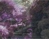 Cross stich wooden footbridge surrounded by flowers pdf pattern