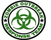Zombie outbreak response team with transparent background digital embroidery round large design