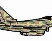 Fighter jet digital embroidery design, Jet digitized embroidery design