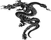 Tribal dragon and snake digital embroidery design, Tribal dragon and snake digitized embroidery design