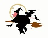 Witch on a broom digital embroidery design, Witch digitized embroidery design