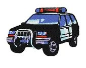 Police car digital embroidery design, Car digitized embroidery design