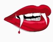 Vampire teeth digital embroidery design, Teeth digitized embroidery design