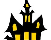 Haunted house digital embroidery design, haunted house digitized embroidery design