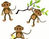 Monkeys digital embroidery design, Monkeys digitized embroidery design