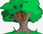 Tree house digital embroidery design, Tree house digitized embroidery design