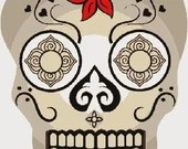 Ornate skull digital embroidery design, Skull digitized embroidery design