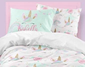unicorn bedding twin etsy