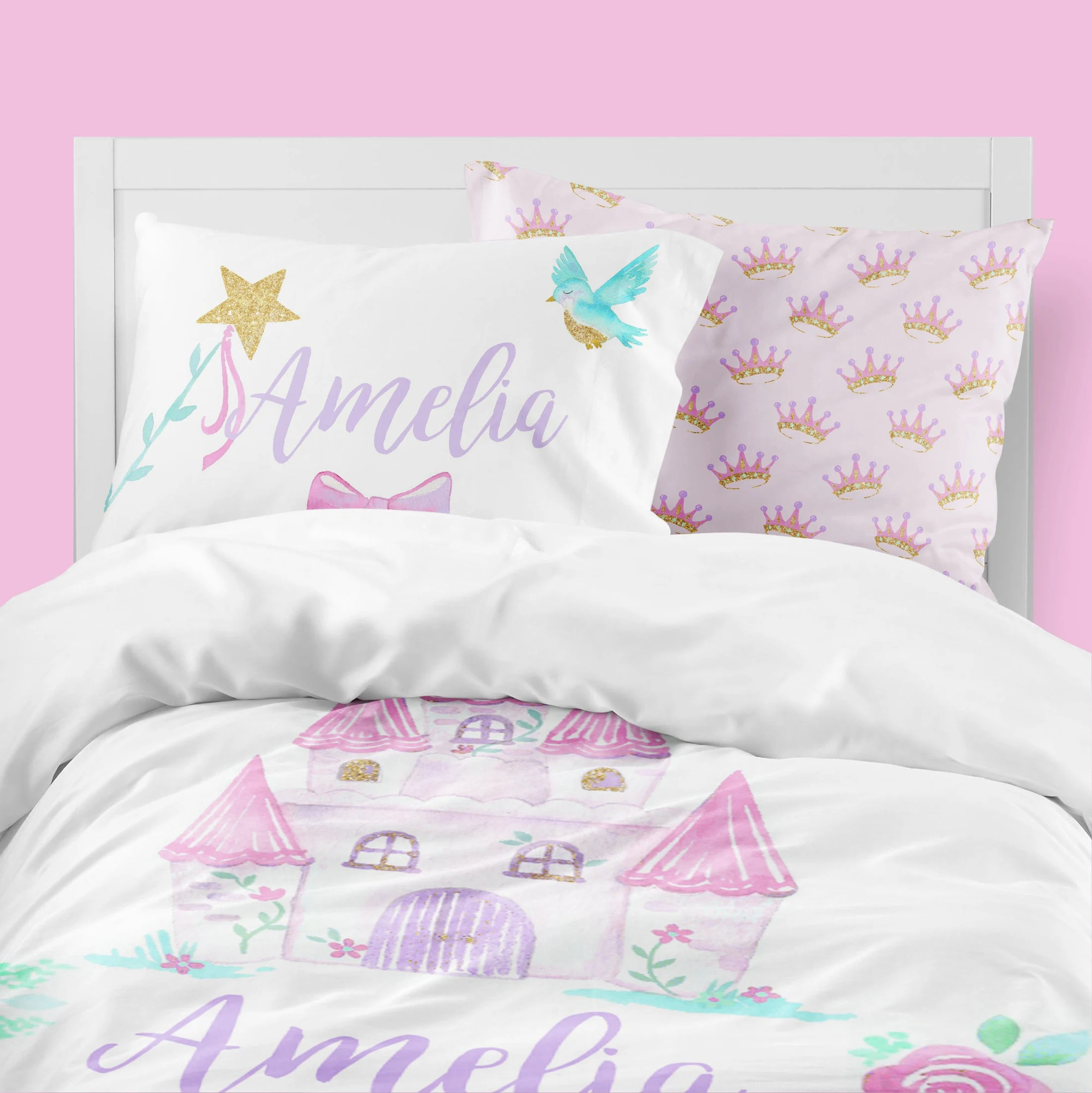 princess girls room fairy tale toddler bedding set twin comforter castle queen duvet cover personalized pillowcase ever after